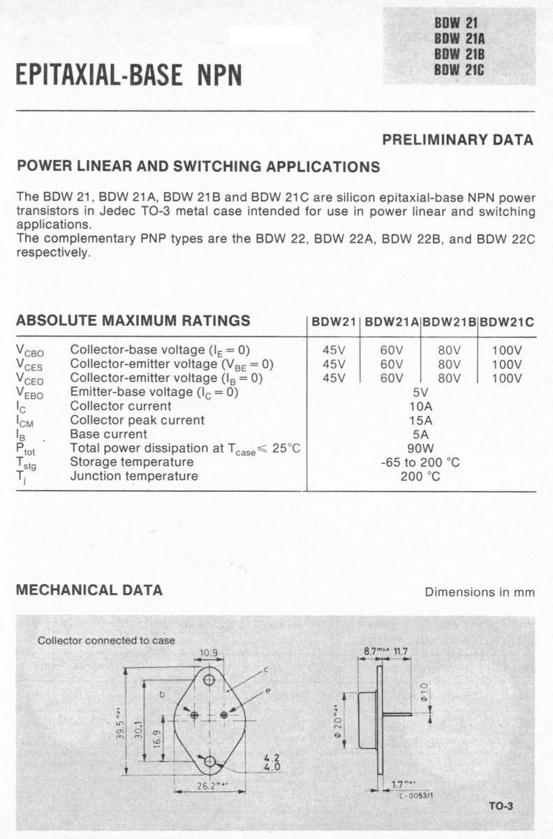 2sd111 Japan-Transistor NPN 80v 10a 100w