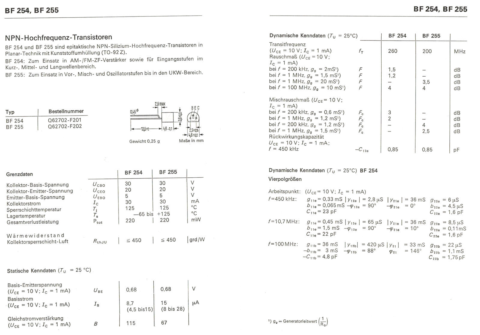 BF254 Transistor npn 20V 30mA 0,2W TO92