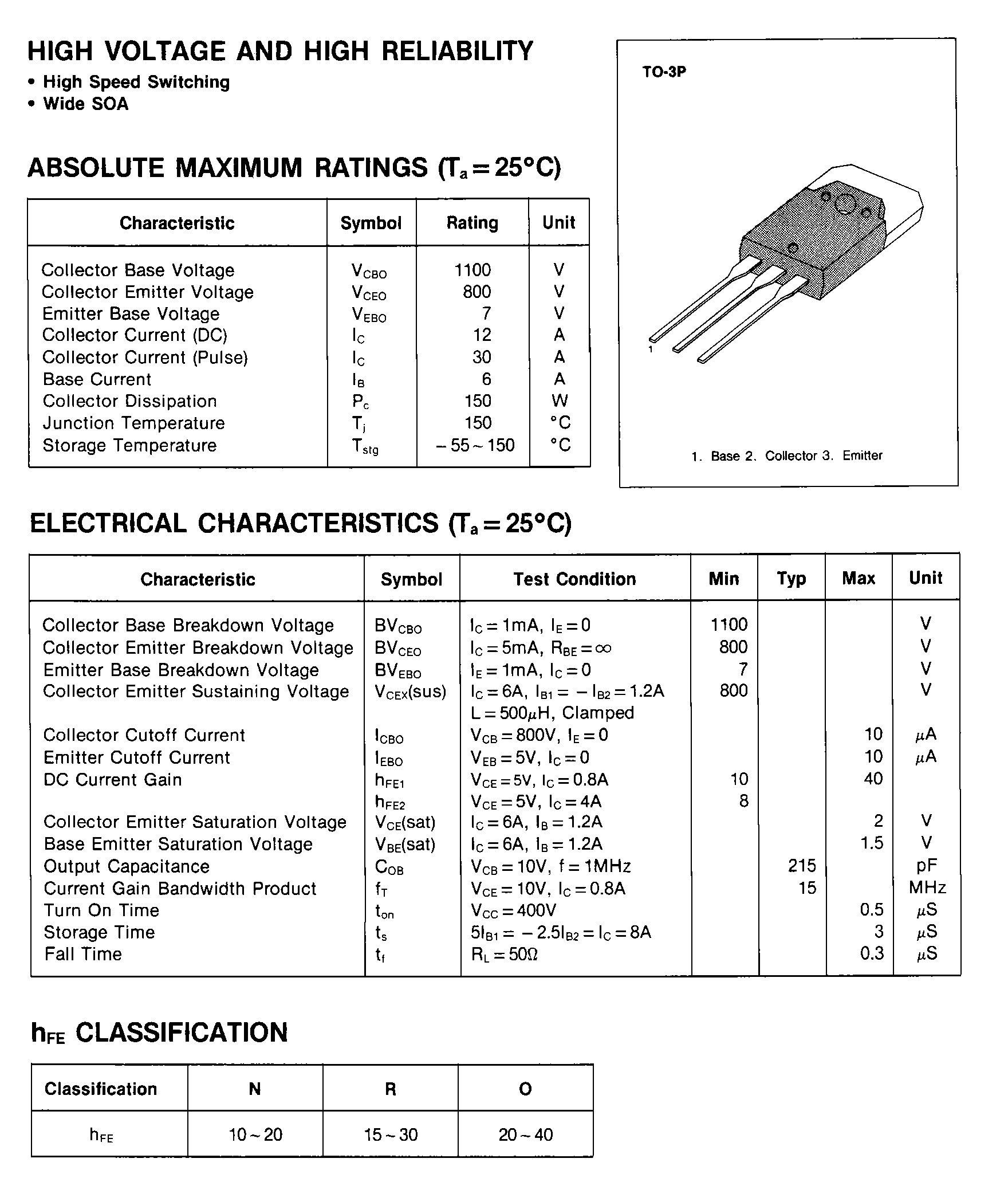 2sc3644 Japan-Transistor NPN 800v 12a 150w